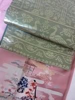 ピンクの付け下げ&緑の帯.JPG