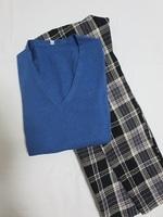 【無印良品】オーガニックコットンシルクVネックセーター&黒・チェックパンツ.JPG