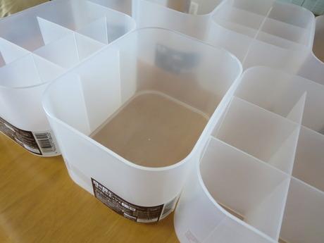 ダイソーの積み重ねボックスが便利!|ディノスのカウンター下収納庫内を整理